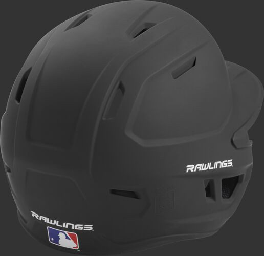 Back right of a one-tone matte black MACH Rawlings senior size batting helmet