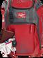 Wallet, keys, and batting gloves in the front valuables pocket of a scarlet Franchise baseball bag - SKU: FRANBP-S image number null