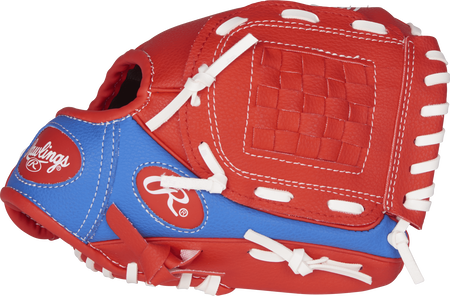 PL91SR Players Series 9-inch tee ball glove with a royal/scarlet thumb and a scarlet Basket web
