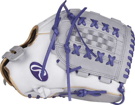 RLA125-18WPU Liberty Advanced Color Series 12.5-inch fastpitch glove with a white/grey thumb and grey Double-Laced Basket web