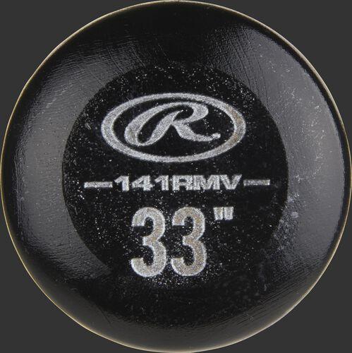 Black knob of a 141RMV Rawlings Maple Ace Velo wood bat