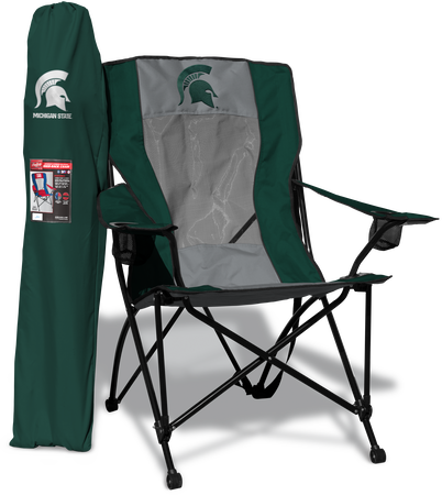 A green/grey NCAA Michigan State Spartans high back chair with a team logo printed on the back and green carrying case