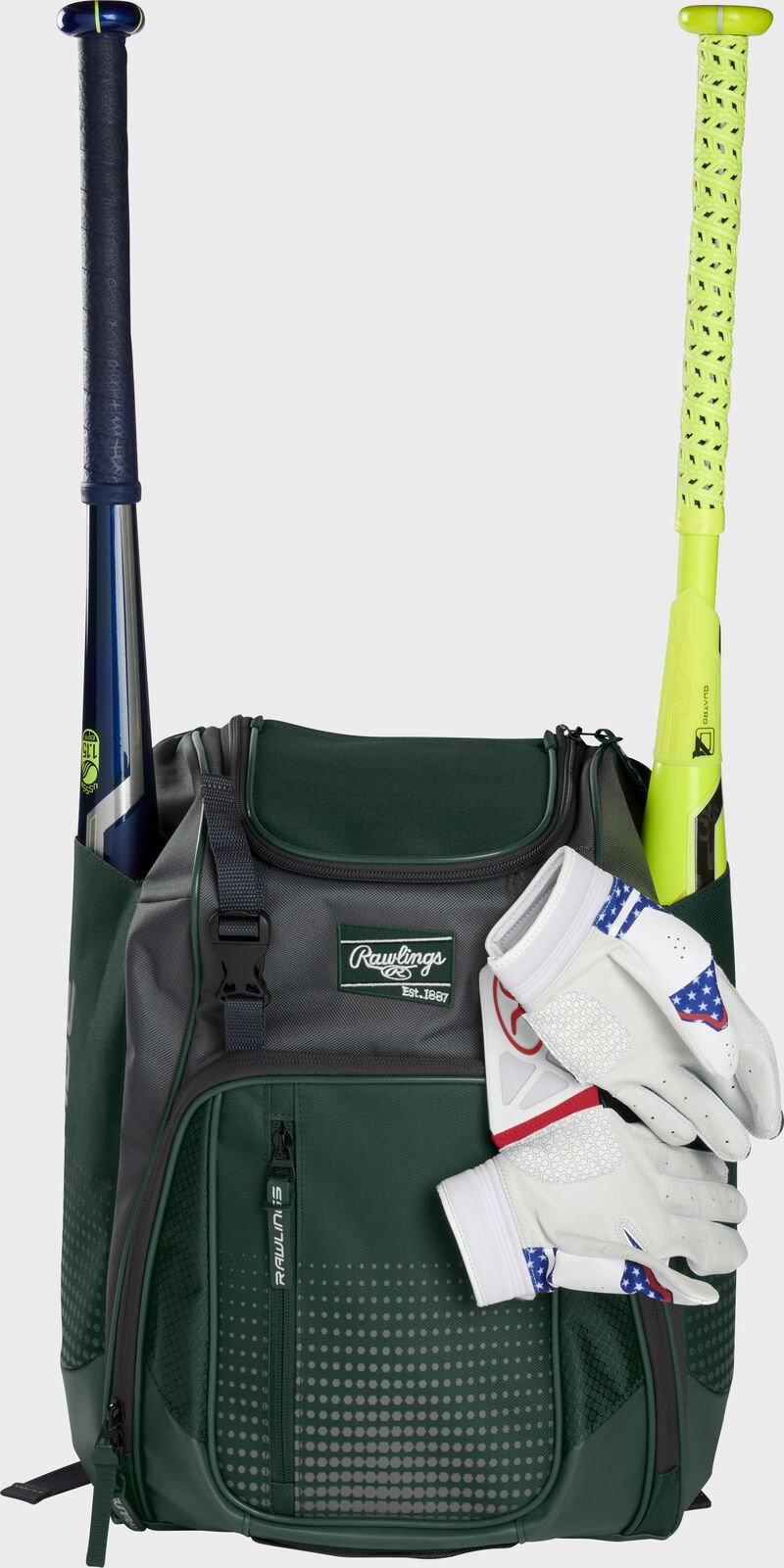 A dark green Franchise backpack with two bats in the sides and batting gloves on the front Velcro strap - SKU: FRANBP-DG