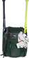 A dark green Franchise backpack with two bats in the sides and batting gloves on the front Velcro strap - SKU: FRANBP-DG image number null