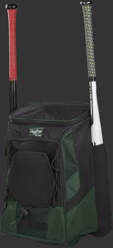 Front left of a dark green/black R600 Rawlings players equipment backpack with two bats