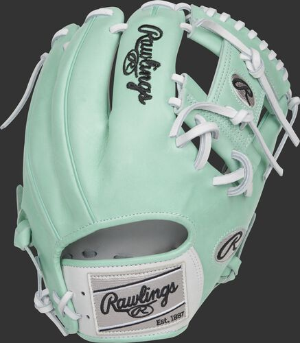 Ocean mint Pro Preferred back of a 2021 exclusive hybrid infield glove with a silver Rawlings patch - SKU: RSGPRO204-2WM