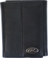 A black RW80003-001 Bases loaded tri-fold wallet folded closed with a silver Oval R emblem in the bottom right corner image number null