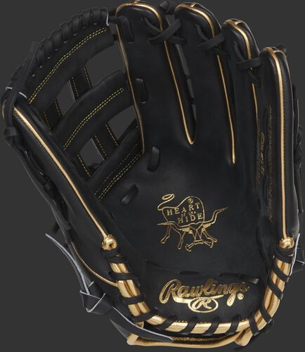 Black palm of a Rawlings Heart of the Hide Ender Inciarte outfield glove with gold stamping and black laces - SKU: RSGPRO3039-EI11