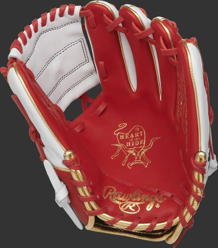 PRONP2-8SW Rawlings Heart of the Hide exclusive glove with a scarlet palm, scarlet laces and white web