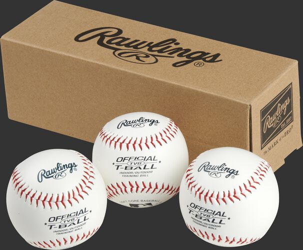 3 Rawlings t-balls in front of a box - SKU: RSGTVBPK3