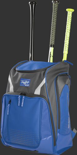 Angle view of a royal Legion baseball bat backpack with 3 bats in the back - SKU: LEGION-R