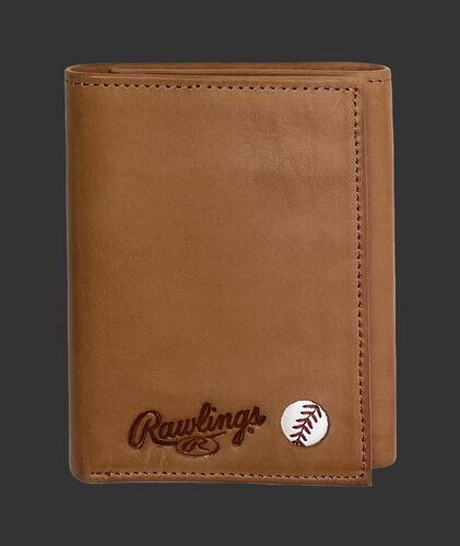 A tan Play Ball tri-fold wallet with the Rawlings logo and ball emblem in the bottom right corner - SKU: MW479-204