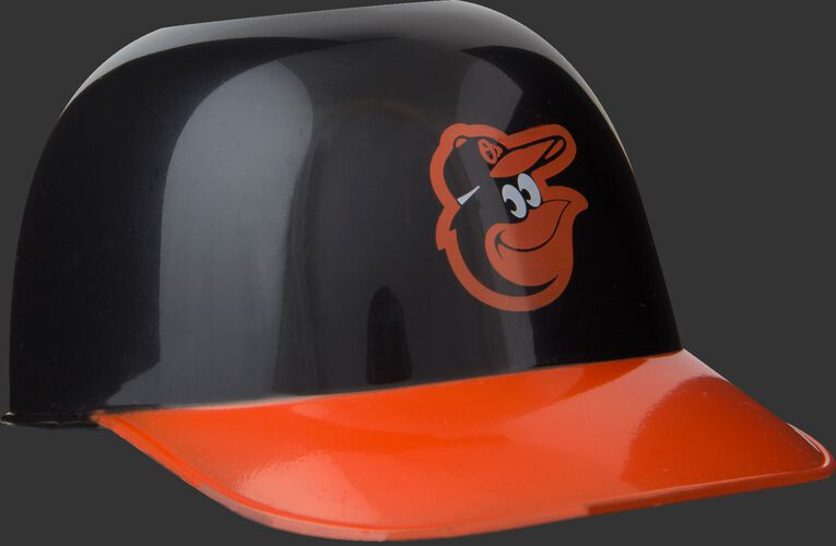 Front of Rawlings Black and Orange MLB Baltimore Orioles Snack Size Helmets With Team Logo SKU #01950018123