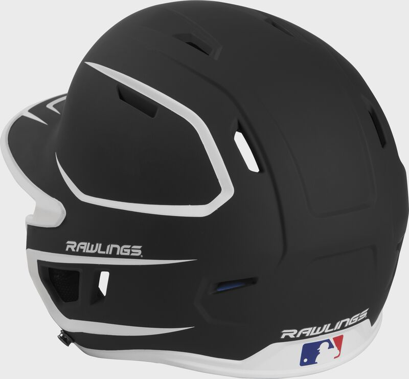 Back left view of a matte black/white MACHEXTR MACH series two-tone batting helmet with air vents