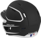 Back left view of a matte black/white MACHEXTR MACH series two-tone batting helmet with air vents image number null