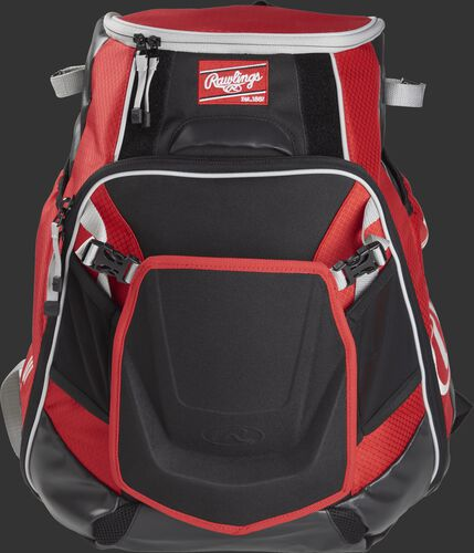 Front of a scarlet VELOBK Velo backpack with scarlet trim and a red Rawlings patch