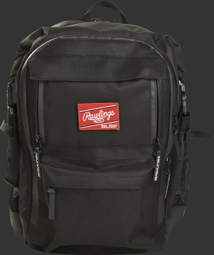 Front of a black CEO coach's backpack with a red Rawlings patch - SKU: CEOBP-B