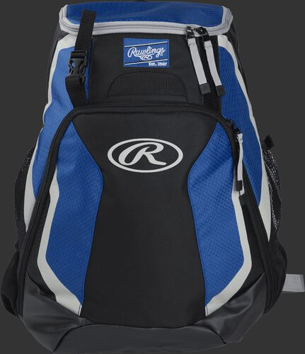 Front of a black/royal R500 Rawlings Players team backpack with a Rawlings patch and white Oval R
