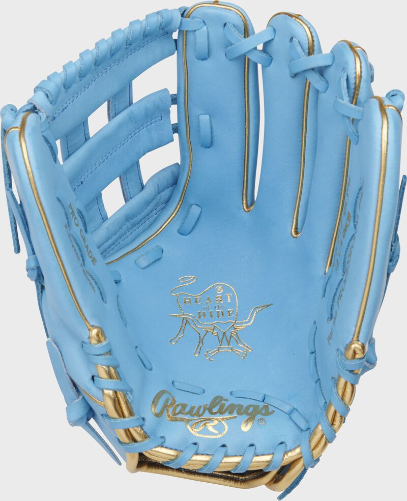 Palm of a Columbia blue Rawlings Kris Bryant Heart of the Hide infield glove with gold stamping and Columbia blue laces - SKU: RSGPROKB17-6CBG