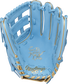 Palm of a Columbia blue Rawlings Kris Bryant Heart of the Hide infield glove with gold stamping and Columbia blue laces - SKU: RSGPROKB17-6CBG image number null