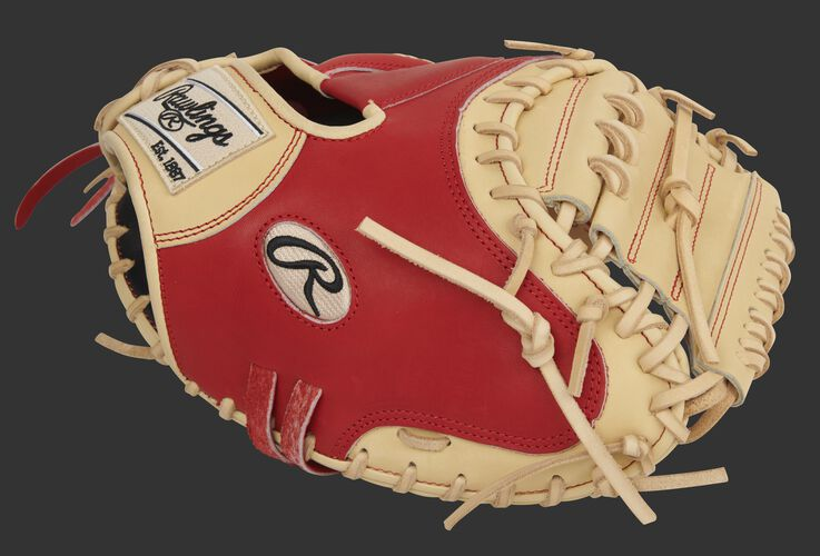 Scarlet thumb of an exclusive Pro Preferred 33-Inch catcher's mitt with a camel 1-piece solid web - SKU: PROSCM33CS