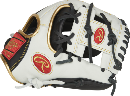 Thumb of a white EC1150-2BW Rawlings 11.5-inch Encore infield/pitcher's glove with a white I web and extended base design