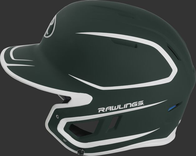 MACH Junior Rawlings batting helmet with a two-tone matte dark green/white shell