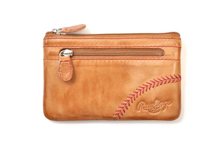 A tan Baseball Stitch coin purse with red stitch design - SKU: MW415-204