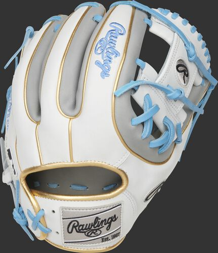 Back of a Heart of the Hide ColorSync 5.0 I-web glove with gold double welting and a gray Rawlings patch - SKU: PRO314-2GW
