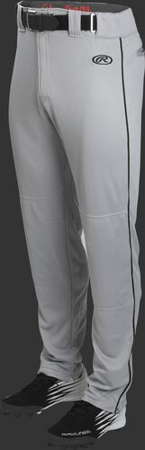 Front of Rawlings Blue Gray/Black Youth Launch Semi-Relaxed Piped Baseball Pant - SKU #YLNCHSRP