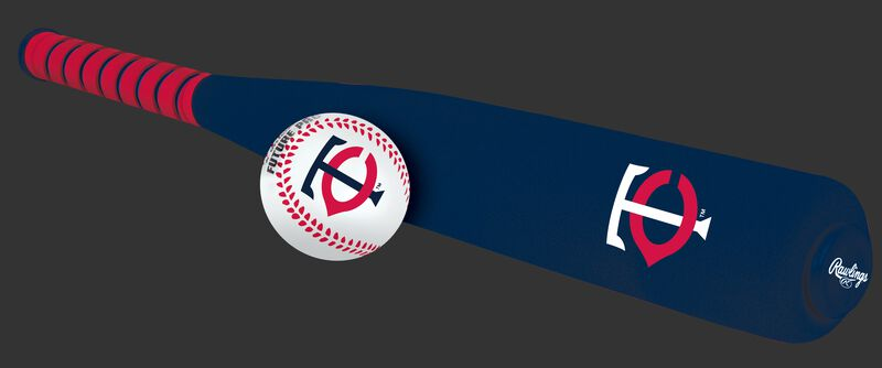 Side of Rawlings Minnesota Twins Foam Bat and Ball Set in Team Colors With Team Name and Logo On Front SKU #01860028111
