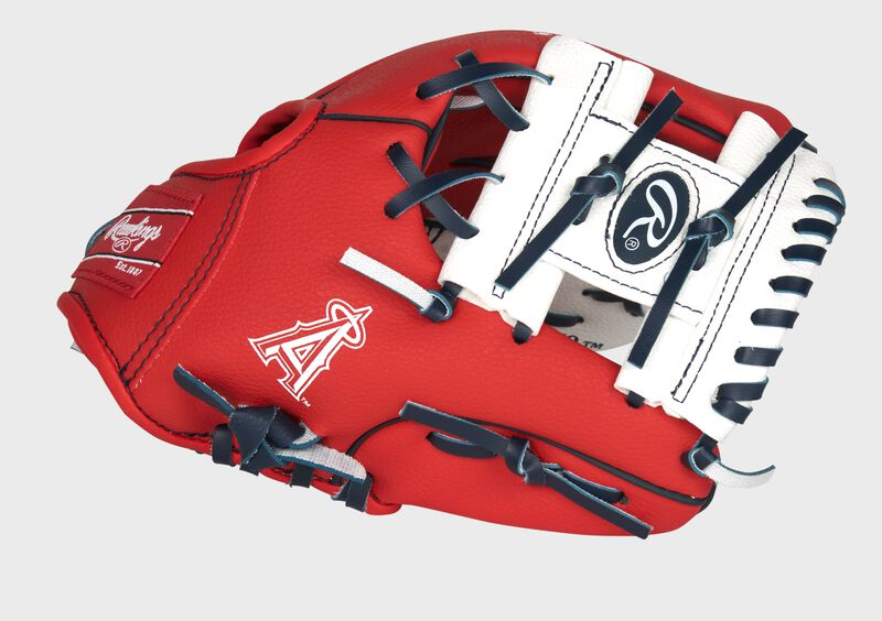 Thumb of a red Los Angeles Angels 10-Inch team logo glove with a white I-web - SKU: 22000001111