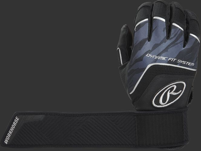 A black WHCSBG Workhorse compression strap batting glove with the compression strap wrapped around once