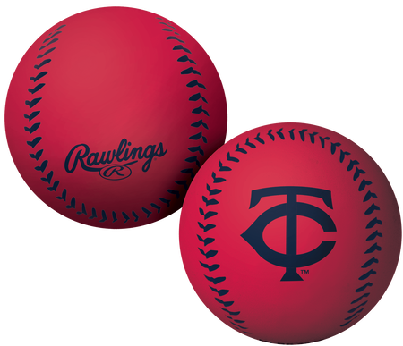 A red Minnesota Twins Big Fly rubber bounce ball
