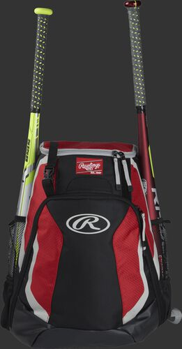 A black/scarlet R500 Rawlings equipment backpack with a bat on each side