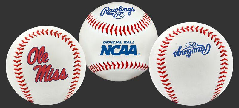 3 views of a NCAA Ole Miss Rebels baseball with a team logo, NCAA logo and Rawlings logo