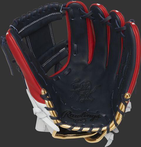 PRO716SB-2USA Rawlings HOH USA softball glove with a navy palm, web and laces