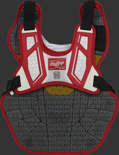 Back harness of a scarlet/white CPV2N adult Velo 2.0 chest protector with Dynamic Fit System 2.0
