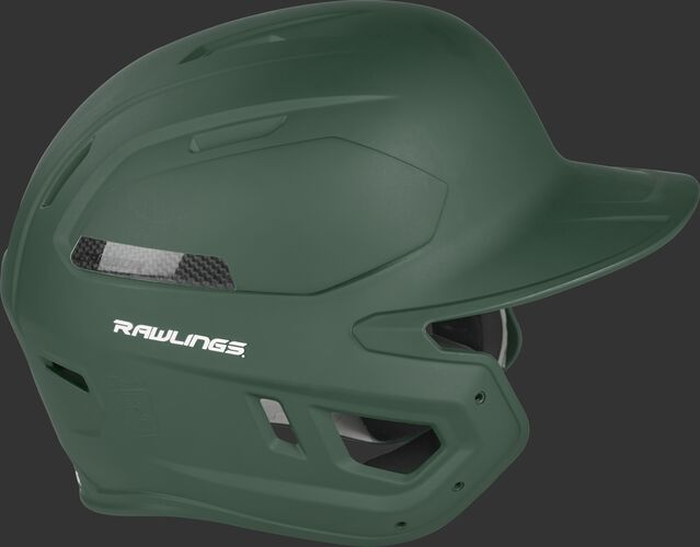 Right side of a CAR07A Rawlings MACH Carbon adult helmet with a matte dark green shell and carbon fiber plate insert