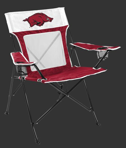 Front of Rawlings Cardinal and White NCAA Arkansas Razorbacks Game Changer Chair With Team Logo SKU #00643069111