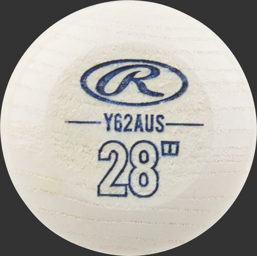 "White know of a youth Player Preferred wood bat with a blue Oval-R and size 28"" - SKU: Y62AUS"