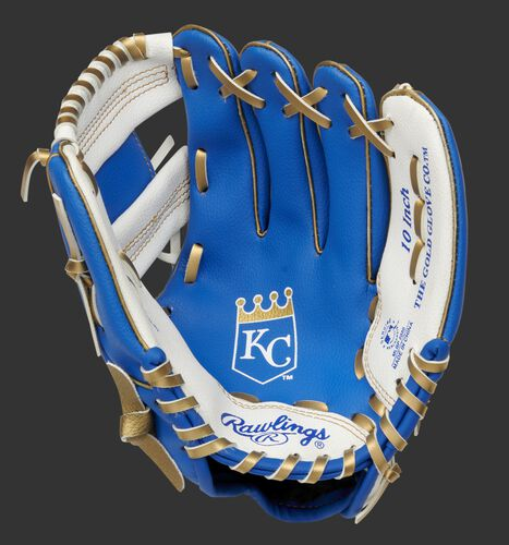 A blue/white Rawlings Kansas City Royals youth glove with the Royals logo stamped in the palm - SKU: 22000026111