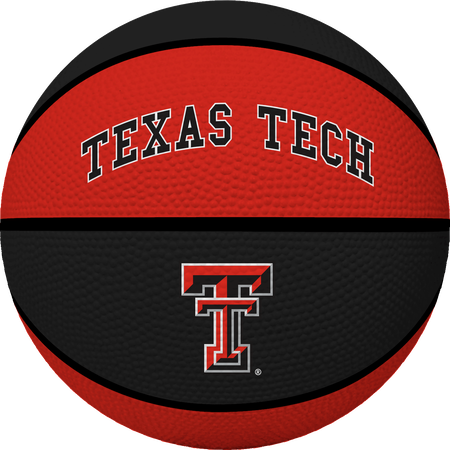 A red/black NCAA Texas Tech Red Raiders alley oop youth size rubber basketball