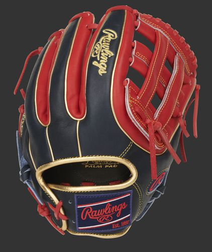 Navy/scarlet back of a Heart of the Hide H-web glove with gold binding/welting - SKU: PRO315-6NS