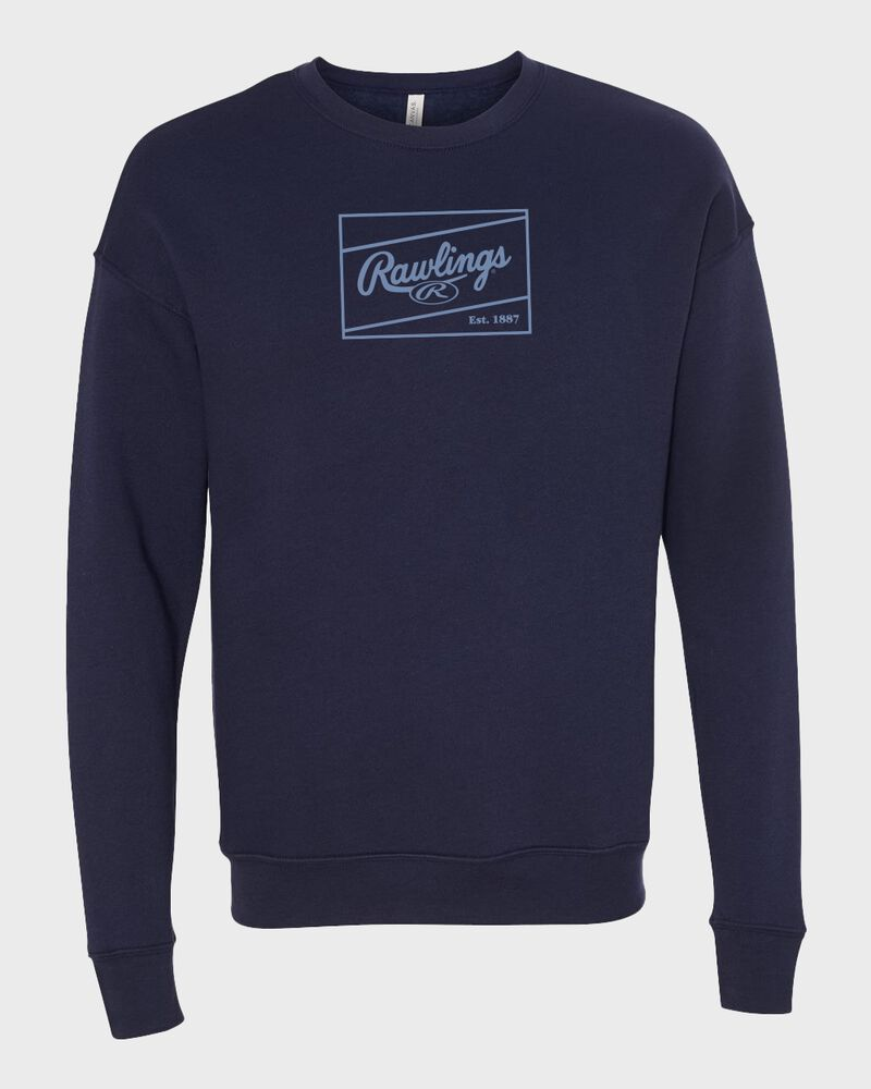 A navy Rawlings crew neck fleece sweatshirt with a columbia blue Rawlings patch logo on the chest - SKU: RSGSF-N