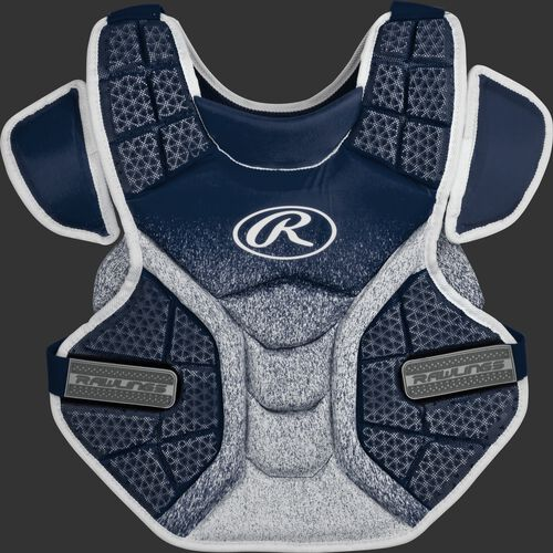 Front of a navy/white SBCPV Velo adult softball chest protector