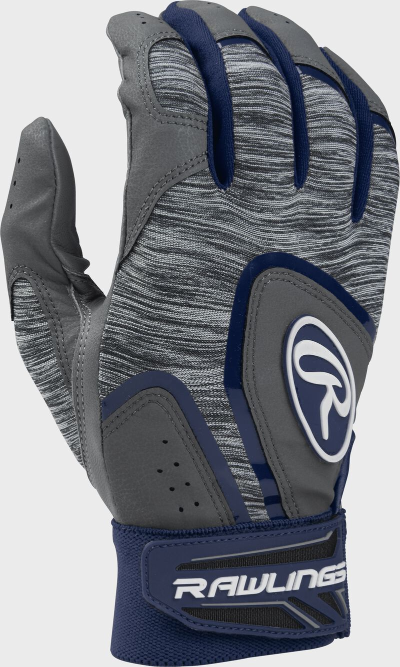 Heather grey 5150GBGY youth 5150 batting gloves with navy trim and wrist strap
