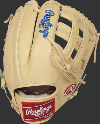 Back of a camel 2021 Pro Preferred 12.25-Inch H-web glove with a red Rawlings patch - SKU: PROSKB17C