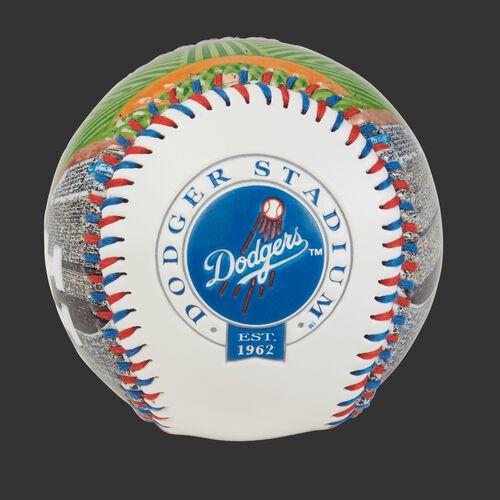 Los Angeles Dodgers team logo on a MLB stadium baseball