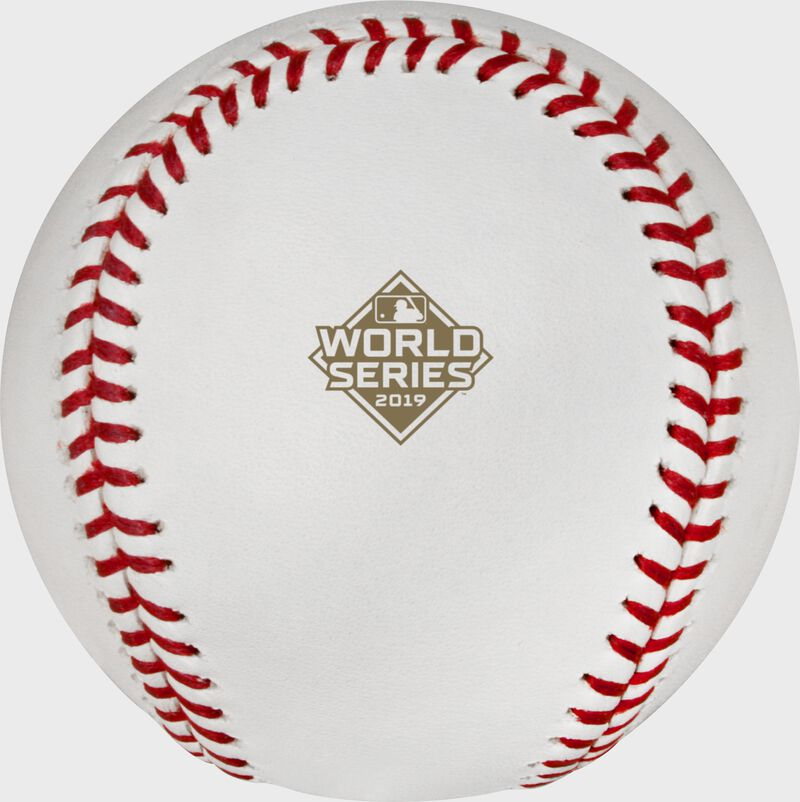 The official Postseason logo stamped on the WSBB19CHMP World Series Champions baseball